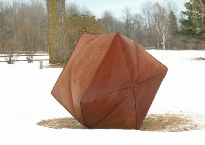 Inflated Steel Sculpture Large Vessel Inspired by Origami
