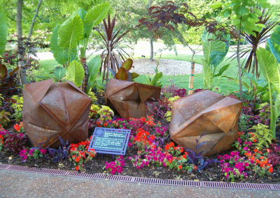 Inflated Steel Sculpture Pod Trio Complete at Olbrich Gardens Madison, WI