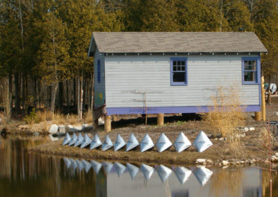Inflated Steel Sculpture Vertebrae Reflections at Flying Pig, Algoma, WI