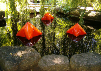 Inflated Steel Sculpture Pods at Olbrich Gardens-Madison, WI