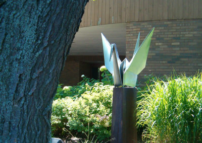 Origami Inspired Crane, Steel Sculpture-Stoughton, WI